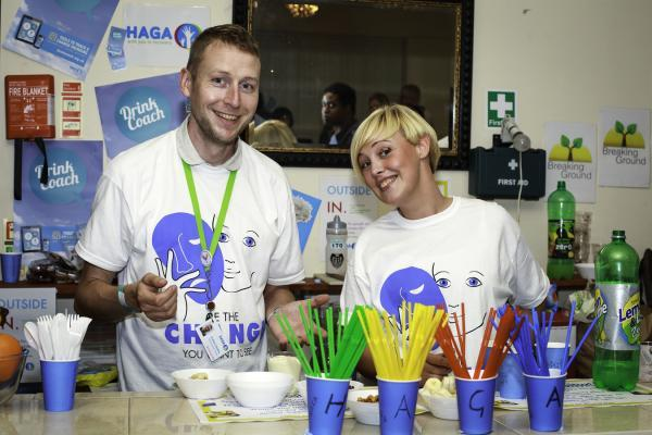 Shaken but not slurred: Graham and Catherine whip up mocktails and healthy snacks at Recovery Pride 2014.